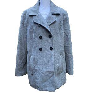 Hilary Radley Classic Gray Pea Coat Angora size 18